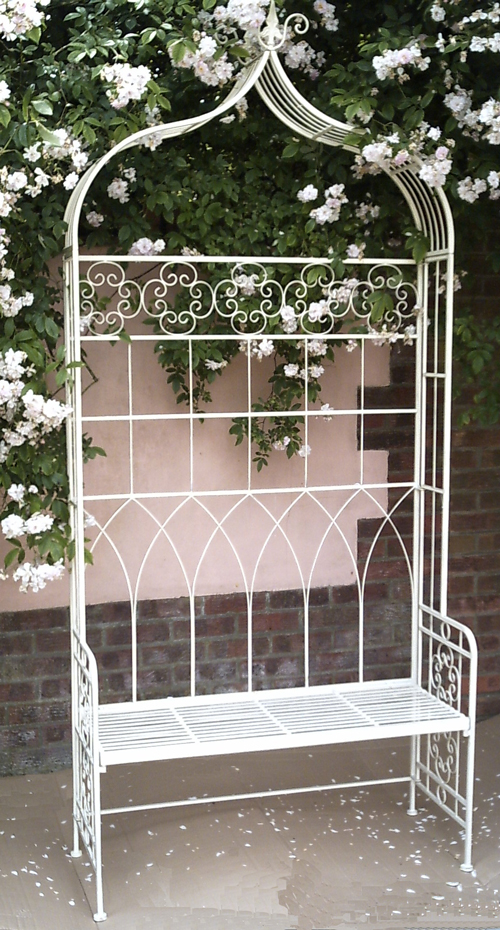 Stylish Metal Garden Antibe Pale Green Grand Arbour Garden Conservatory Bench Seat Ferailles