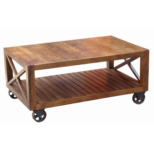 acacia wood industrial style coffee table on wheels ferailles. Black Bedroom Furniture Sets. Home Design Ideas