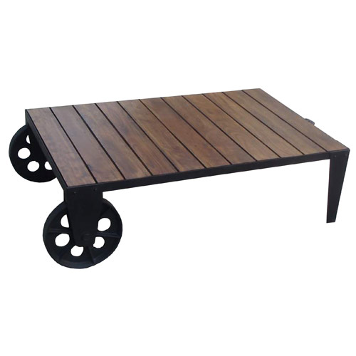 Acacia Wood Industrial Style Coffee Table On 2 Big Wheels Ferailles