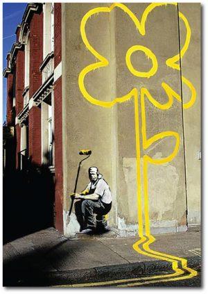 Banksy Greeting Card Yellow Lines