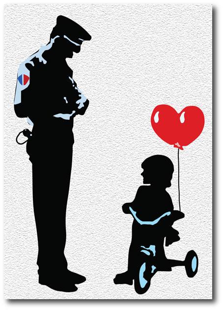 Tricycle Cop Banksy Greeting Card