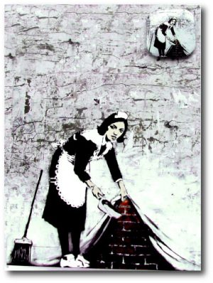 Full Colour Black - Camden Maid - Banksy Greeting Card With Badge