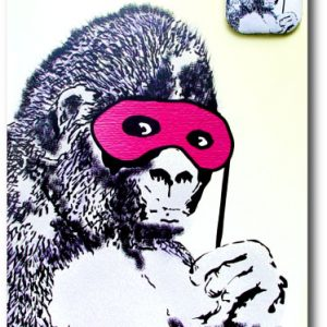 Gorilla Mask Banksy Greeting Card With Badge