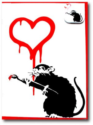 Love Rat - Banksy Greeting Cards With Badge