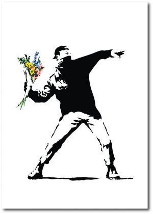 Flower Bomber - Banksy Greeting Card