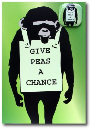 Give Peas A Chance - Greeting Card With Badge