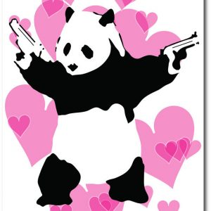 Panda Guns-Pink. Banksy Greeting Card