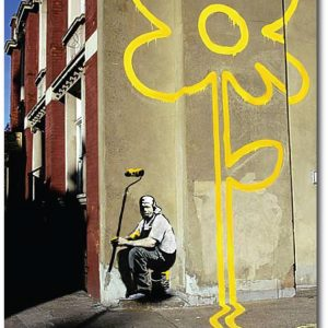 Yellow Lines - Banksy Greeting Card