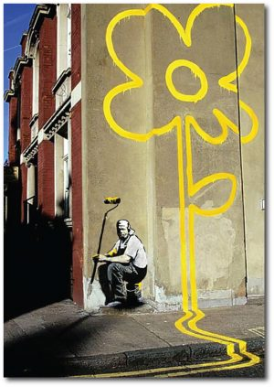 Yellow Lines - Banksy Greeting Card