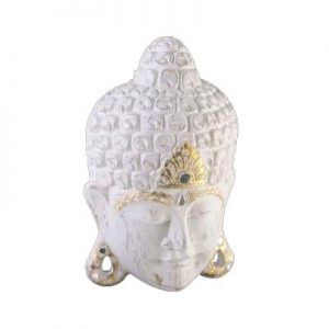 White Wash Buddha Face Mask With gold Spot Decorative Finish
