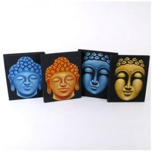 Hand painted Buddha faces on Canvas
