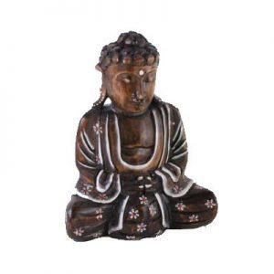 Buddha dark wood with white highlights