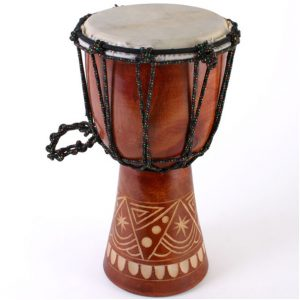 Hand carved bongo drum