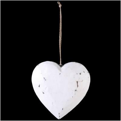 Wooden Hanging Heart White Washshabby Chic Large 33 X 20 Cm