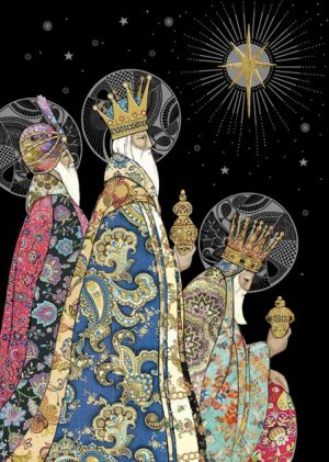 Three Kings - Xmas Card - MC047 bug art cards by jane crowther UK