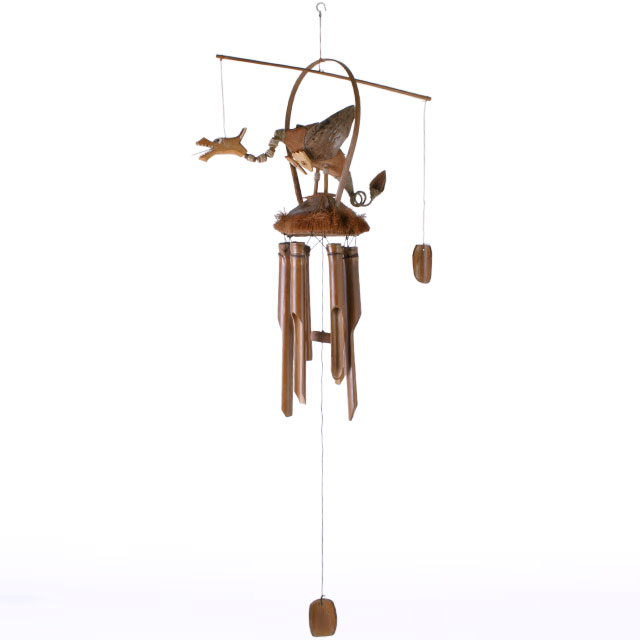 Nodding Dragon Hanging Bamboo Mobile Wind Chime Large Ferailles