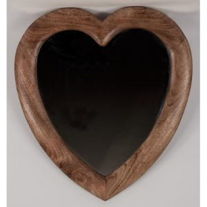 Heart shaped mirror. Mango wood. 58x52cm
