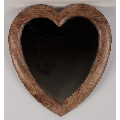 Heart Mirror Large 58x52cm Handmade From Mango Wood