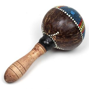 Turned wooden hande and coconut maracas