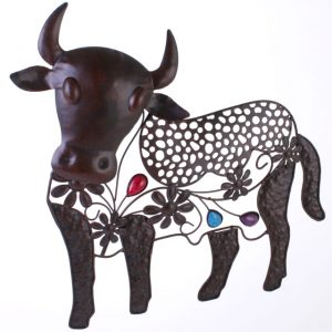 Brian the bull metal garden wall plaque. Ferailles.co.uk