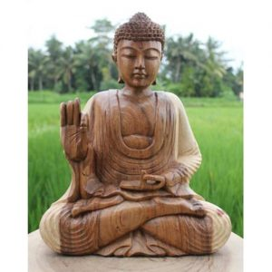 Sitting Wooden Buddha Natural Finish 30cm. ferailles.co.uk