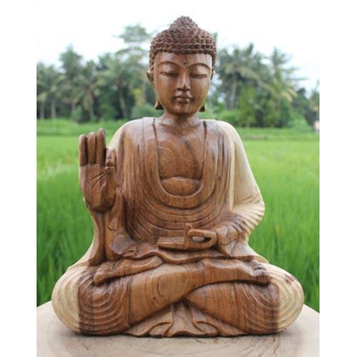 sitting meditating wooden buddha statue 30cm u2013 natural light finish ferailles