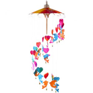 childrens garden dolphins and hearts mobile chime. ferailles.co.uk