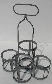Metalwork - Green Bottle Holder. Holds 4 Bottles