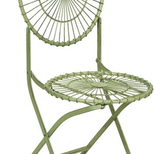 Stylish Metal Garden Antibe Pale Green Folding Round Back Dining Chairs