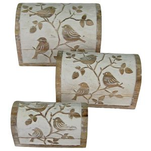 Bird Design - Dome Box Chests - White Wash - Set Of 3