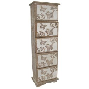Butterfly Design 5 Drawer Chest
