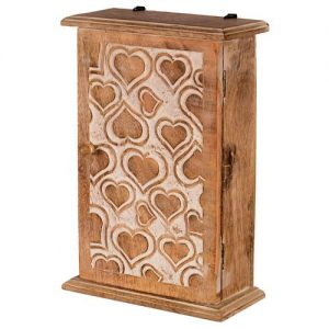Heart Design - Key Box Cabinet - White Wash - Outer View