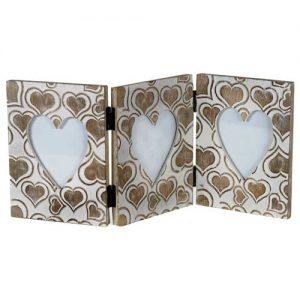 Heart Design Triple Folding Standing Photo Frame