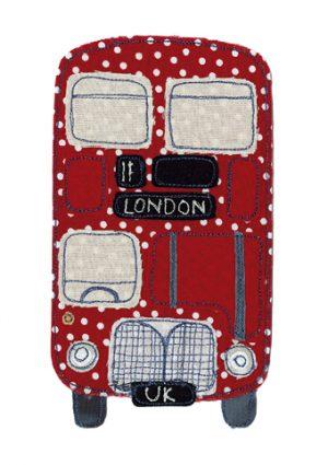 Polka Dott Red London Double Decker Bus - Card Cards