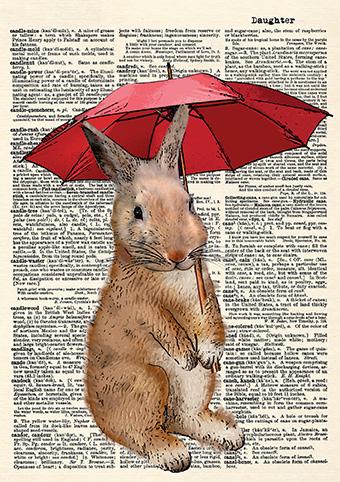 Rainy Day Rabbit Card