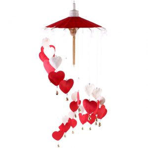 Red Hearts Paper Hanging Mobile - 70cm