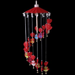 Red Owls & Hearts Paper Hanging Mobile - 70cm