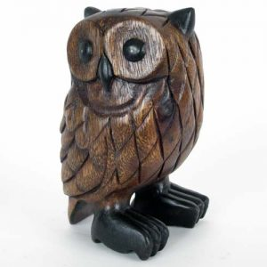 Standing Owl - Wooden - Handcarved Acacia Wood - 7inches 18cm tall