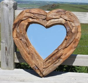 Teak Root Heart Mirror. Small 60x60