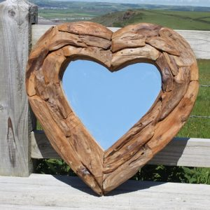 Teak Root Heart Mirror. Small 60x60