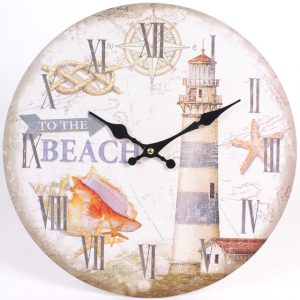 To The Beach - Lighthouse Design - Wall Clock