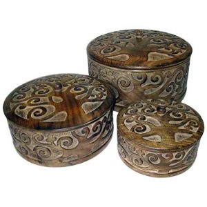 Tree Of Life - Round Chests With Lid - Set Of 3 - Mango Wood