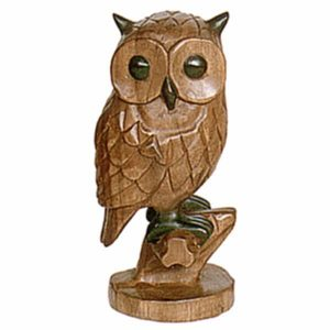 Wooden Owl On Perch - 30cm