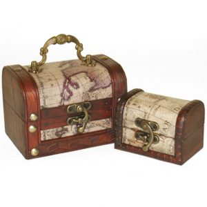 Map Treasure Chest Trinkets Set of 2