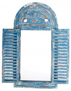 Shabby Chic Blue Louvre Mirror. Open
