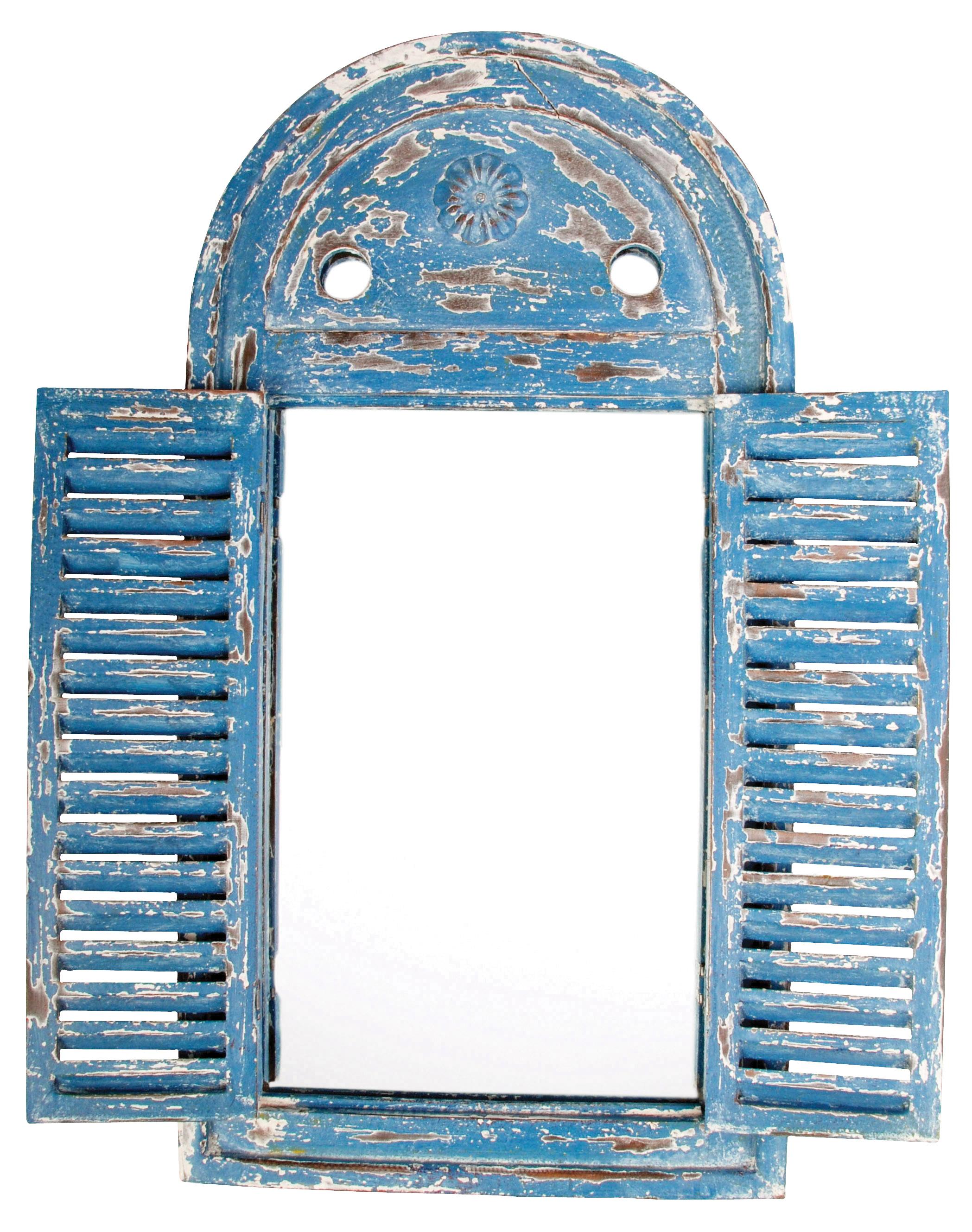 Shabby Chic Blue Louvre Mirror Ferailles