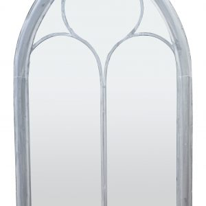 Shabby Chic White Metal Church Mirror - Large