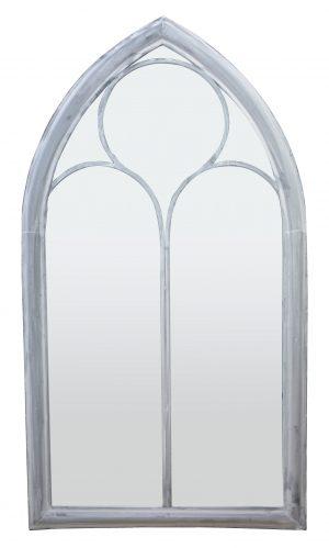 Shabby Chic White Metal Church Mirror - Large