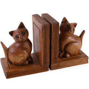 Wooden Bookends - Pussycats