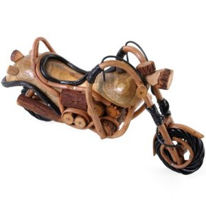 Hand scupltured wooden harley style motorbike ornaments